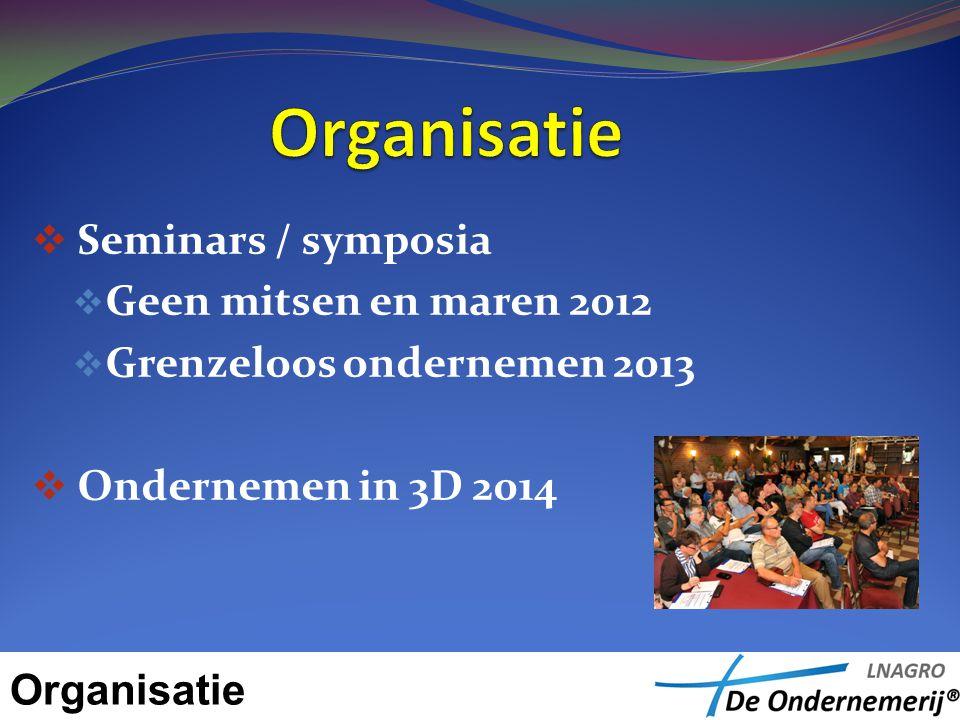 Seminars / symposia  Geen mitsen en maren 2012  Grenzeloos ondernemen 2013  Ondernemen in 3D 2014 Organisatie