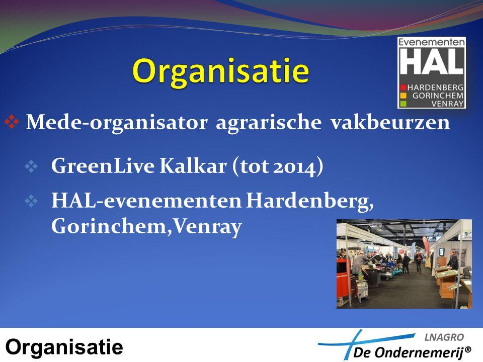  Mede-organisator agrarische vakbeurzen  GreenLive Kalkar (tot 2014)  HAL-evenementen Hardenberg, Gorinchem,Venray Organisatie