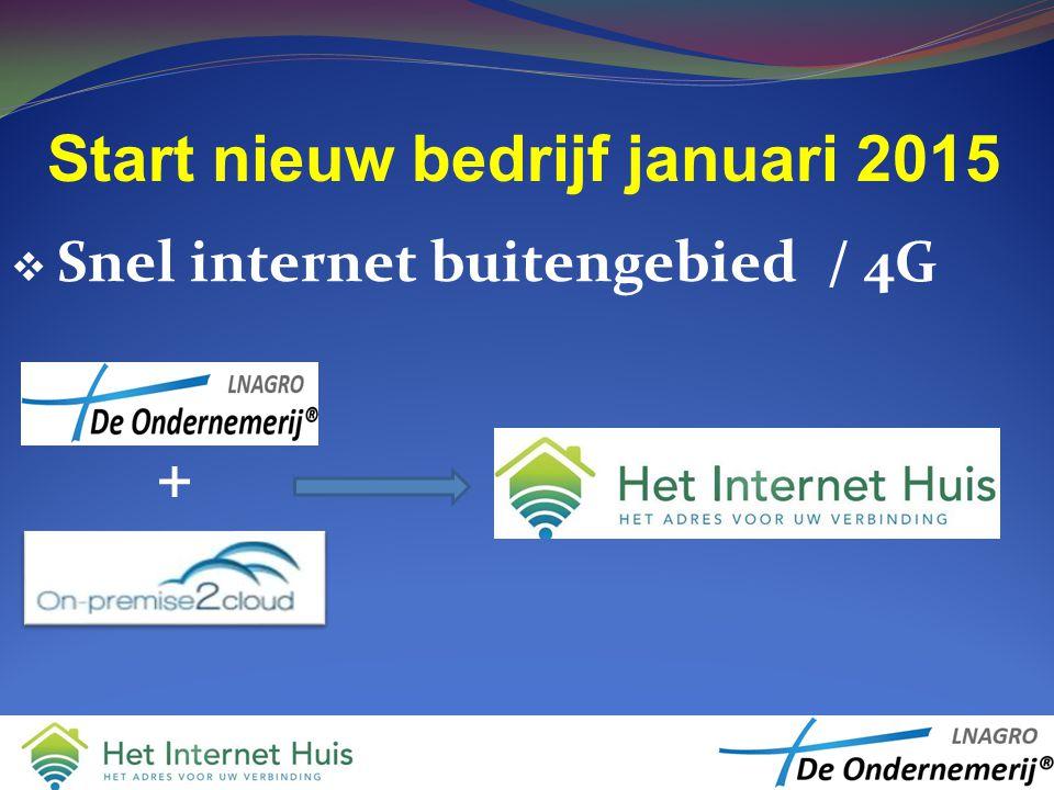 Start nieuw bedrijf januari 2015  Snel internet buitengebied / 4G +