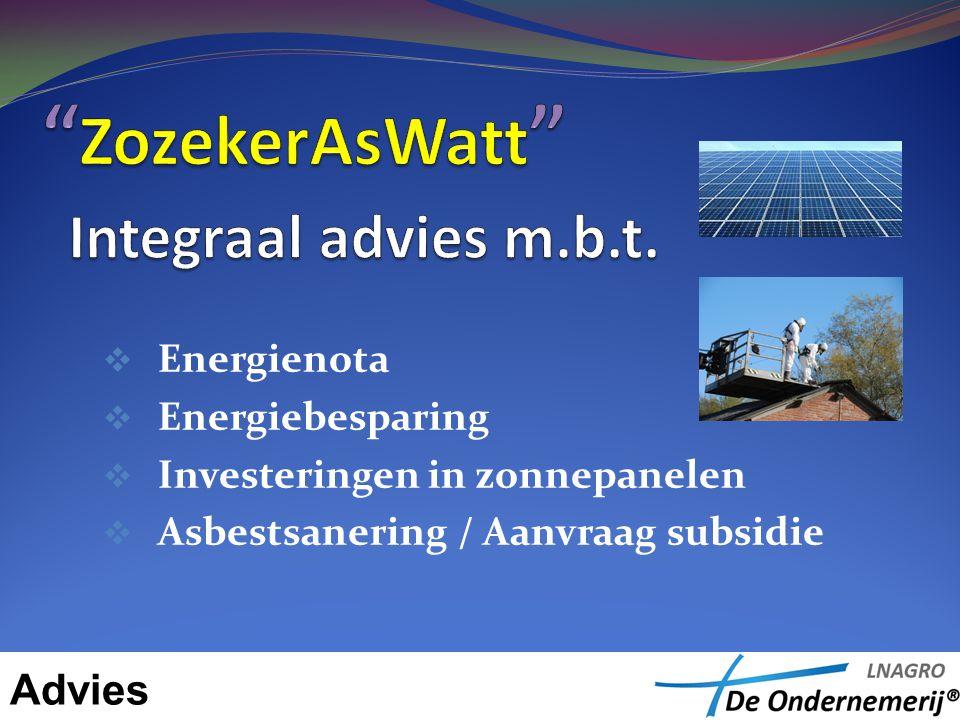  Energienota  Energiebesparing  Investeringen in zonnepanelen  Asbestsanering / Aanvraag subsidie Advies