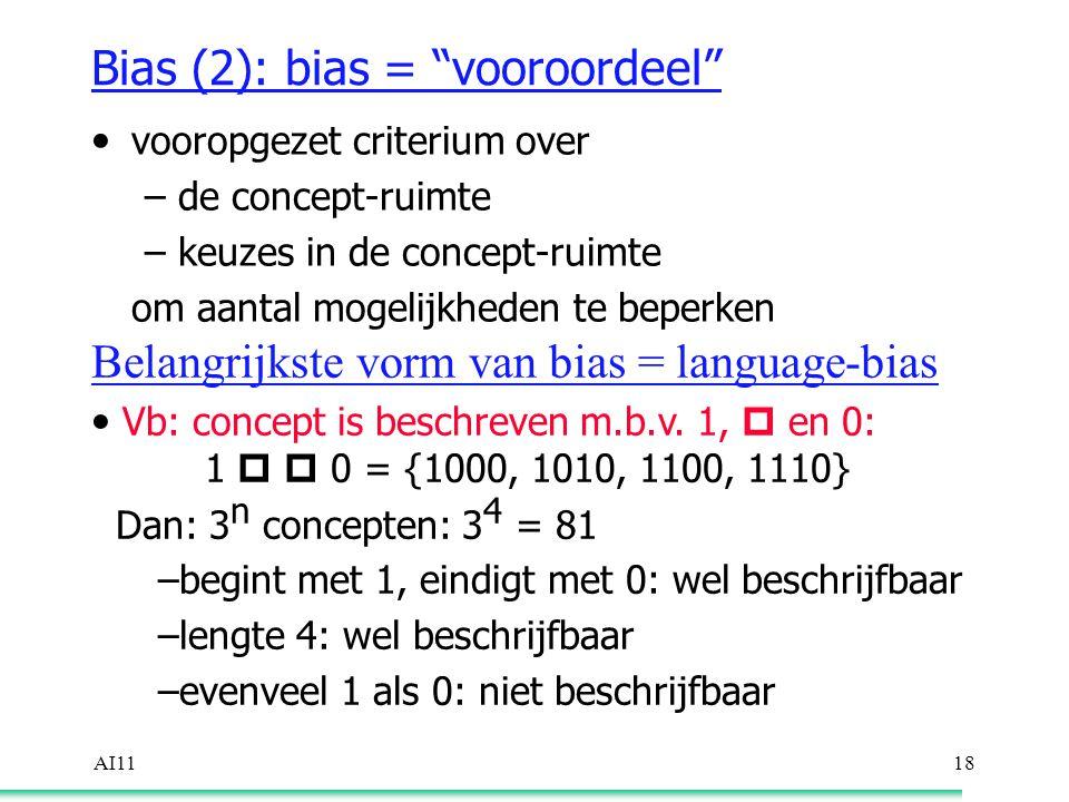 AI1118 Bias (2): bias = vooroordeel vooropgezet criterium over –de concept-ruimte –keuzes in de concept-ruimte om aantal mogelijkheden te beperken Belangrijkste vorm van bias = language-bias Vb: concept is beschreven m.b.v.