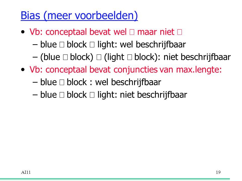 AI1119 Bias (meer voorbeelden) Vb: conceptaal bevat wel  maar niet  –blue  block  light: wel beschrijfbaar –(blue  block)  (light  block): niet beschrijfbaar Vb: conceptaal bevat conjuncties van max.lengte: –blue  block : wel beschrijfbaar –blue  block  light: niet beschrijfbaar