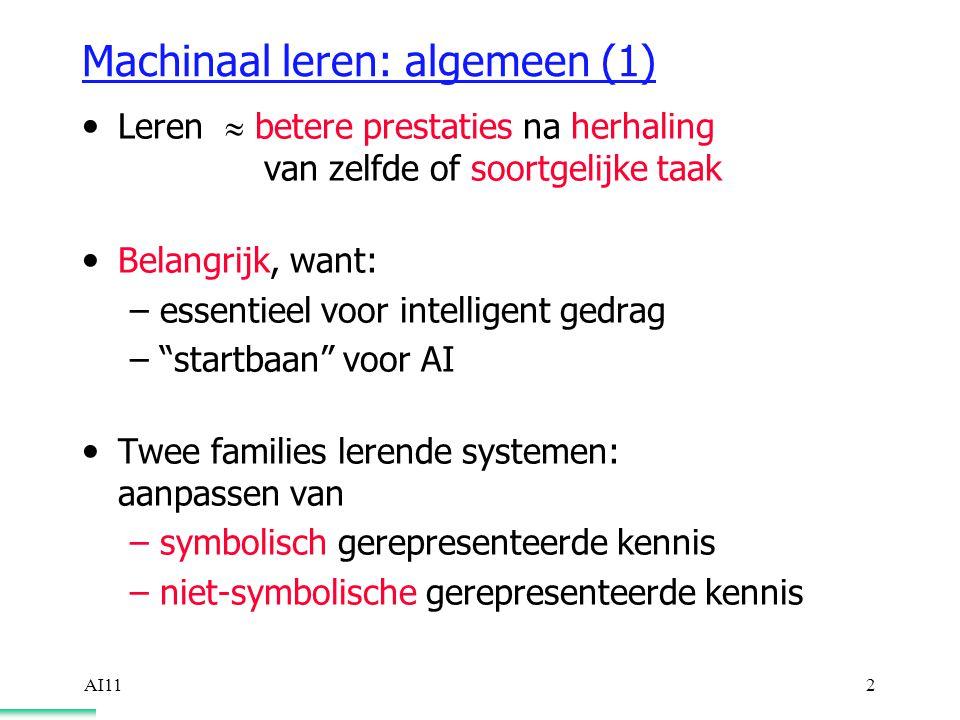 AI112 Machinaal leren: algemeen (1) Leren  betere prestaties na herhaling van zelfde of soortgelijke taak Belangrijk, want: –essentieel voor intelligent gedrag – startbaan voor AI Twee families lerende systemen: aanpassen van –symbolisch gerepresenteerde kennis –niet-symbolische gerepresenteerde kennis