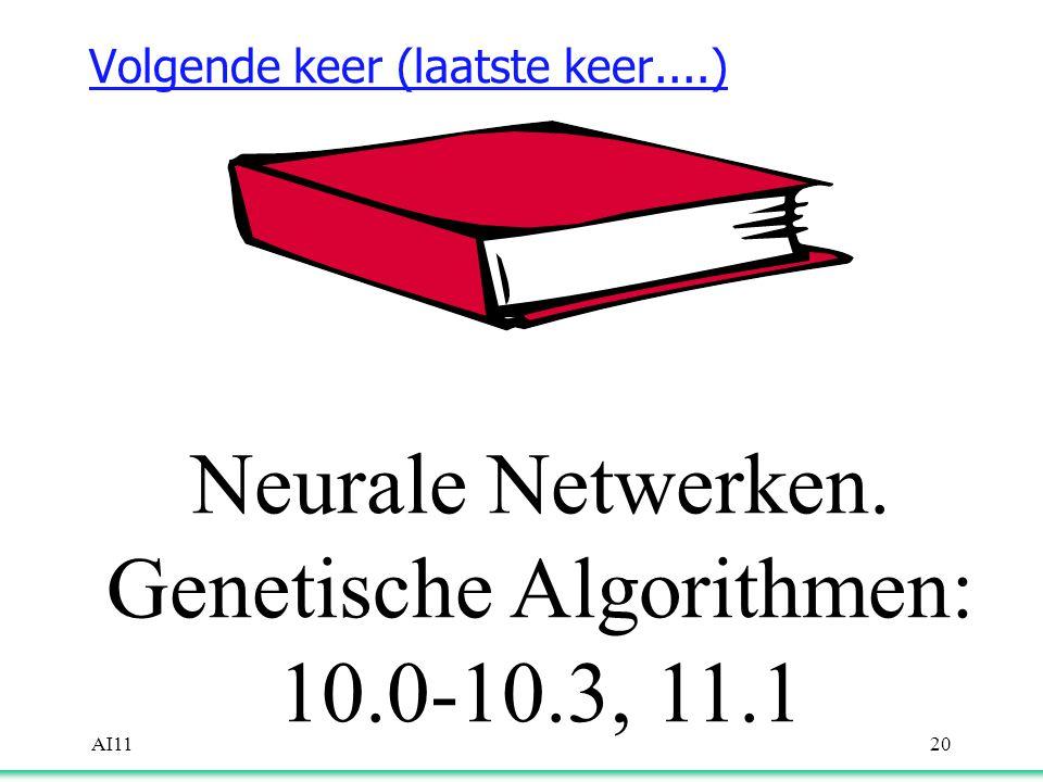 AI1120 Volgende keer (laatste keer....) Neurale Netwerken. Genetische Algorithmen: 10.0-10.3, 11.1