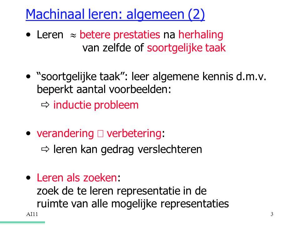 AI113 Machinaal leren: algemeen (2) Leren  betere prestaties na herhaling van zelfde of soortgelijke taak soortgelijke taak : leer algemene kennis d.m.v.