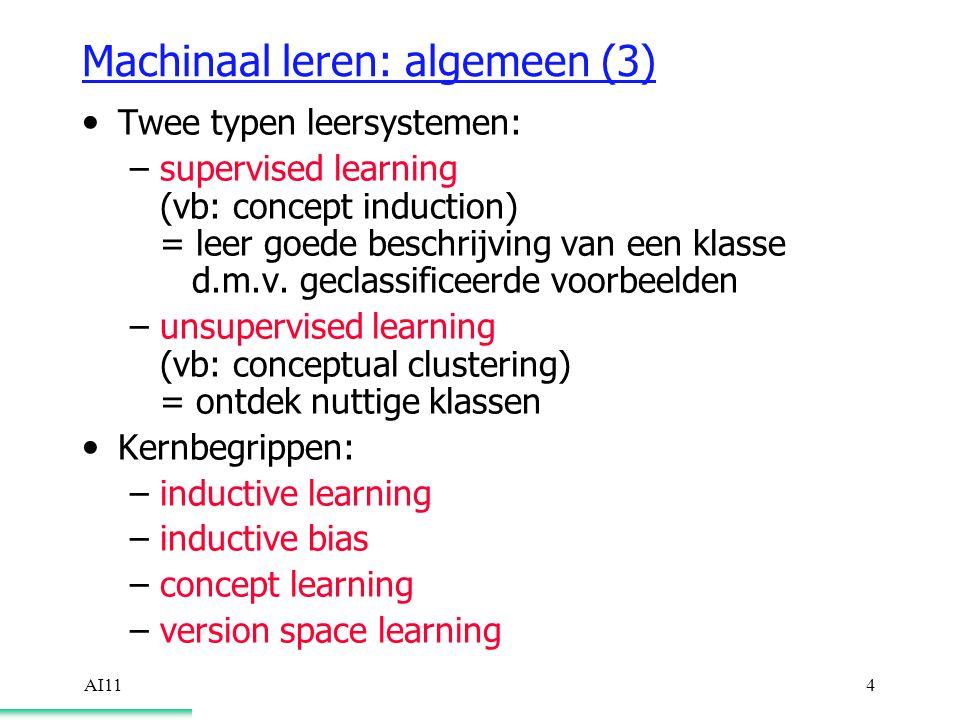 AI114 Machinaal leren: algemeen (3) Twee typen leersystemen: –supervised learning (vb: concept induction) = leer goede beschrijving van een klasse d.m.v.