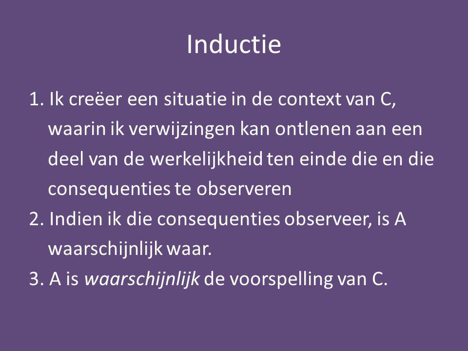 Inductie 1. Ik creëer een situatie in de context van C, waarin ik verwijzingen kan ontlenen aan een deel van de werkelijkheid ten einde die en die con