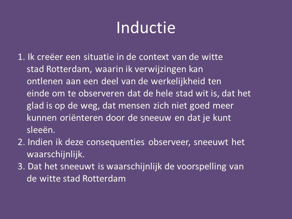 Inductie 1. Ik creëer een situatie in de context van de witte stad Rotterdam, waarin ik verwijzingen kan ontlenen aan een deel van de werkelijkheid te