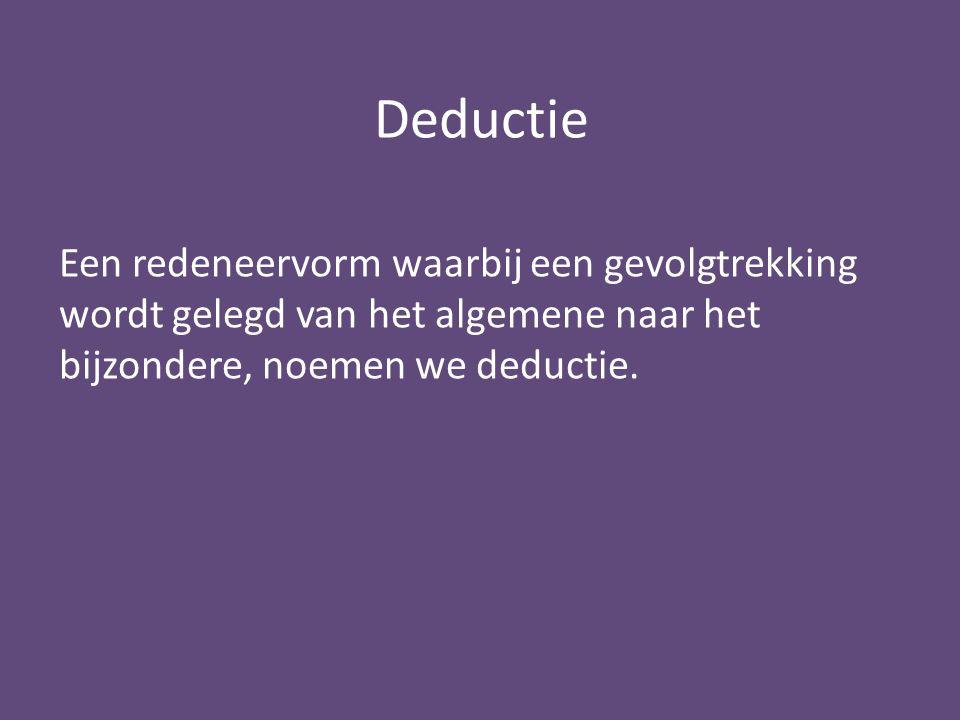 Deductie Een redeneervorm waarbij een gevolgtrekking wordt gelegd van het algemene naar het bijzondere, noemen we deductie.