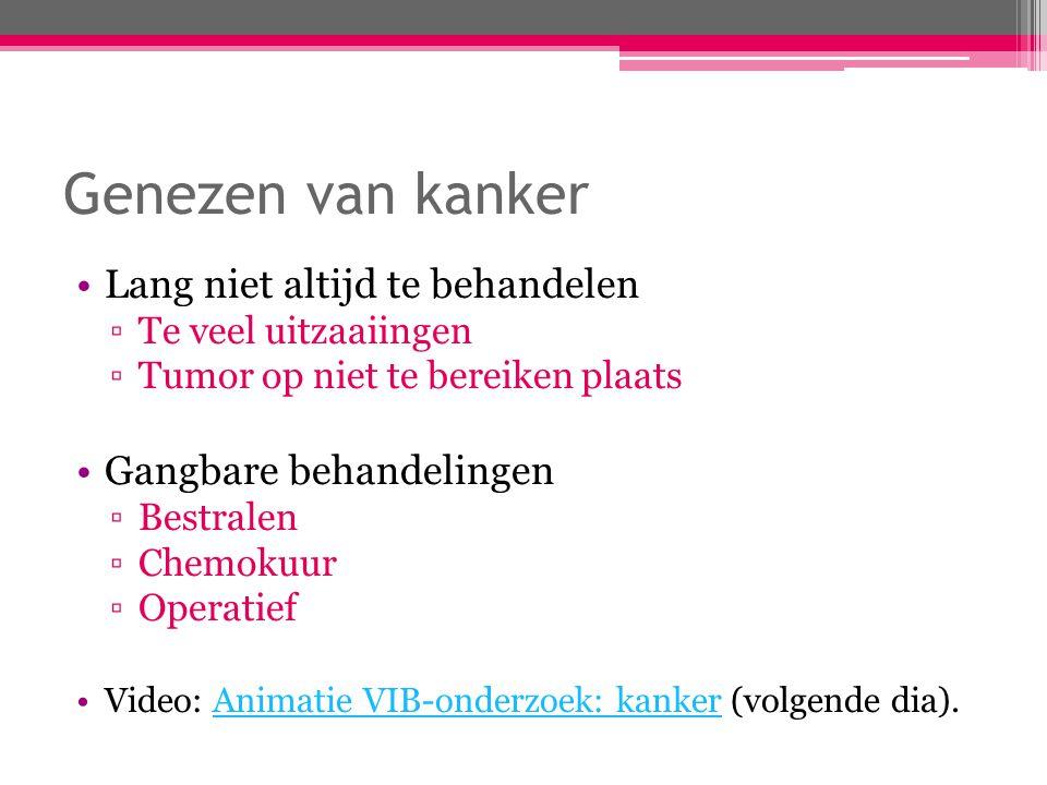 Genezen van kanker Lang niet altijd te behandelen ▫Te veel uitzaaiingen ▫Tumor op niet te bereiken plaats Gangbare behandelingen ▫Bestralen ▫Chemokuur