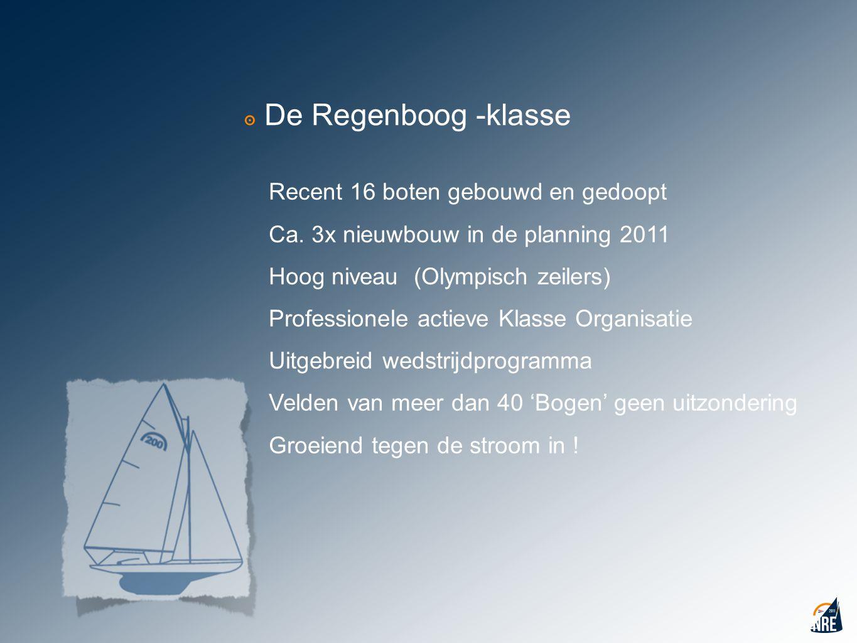 ๏ De Regenboog -klasse Recent 16 boten gebouwd en gedoopt Ca. 3x nieuwbouw in de planning 2011 Hoog niveau (Olympisch zeilers) Professionele actieve K