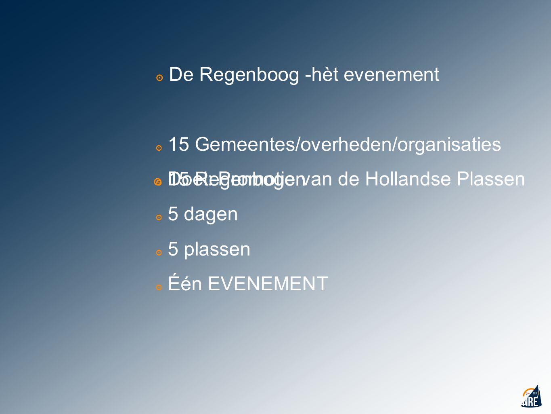 ๏ De Regenboog -hèt evenement ๏ 15 Gemeentes/overheden/organisaties ๏ 15 Regenbogen ๏ 5 dagen ๏ 5 plassen ๏ Één EVENEMENT ๏ Doel: Promotie van de Holl