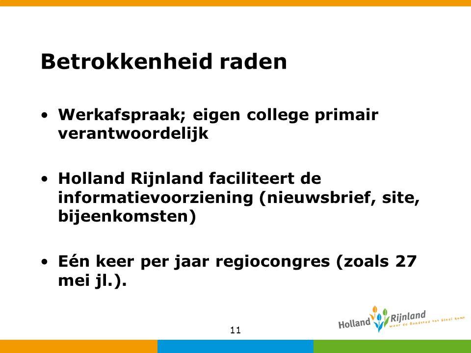 Betrokkenheid raden Werkafspraak; eigen college primair verantwoordelijk Holland Rijnland faciliteert de informatievoorziening (nieuwsbrief, site, bij