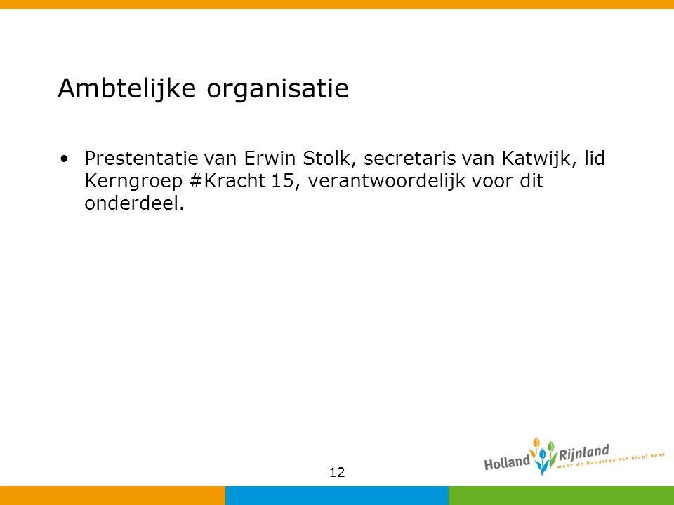 Ambtelijke organisatie Prestentatie van Erwin Stolk, secretaris van Katwijk, lid Kerngroep #Kracht 15, verantwoordelijk voor dit onderdeel. 12