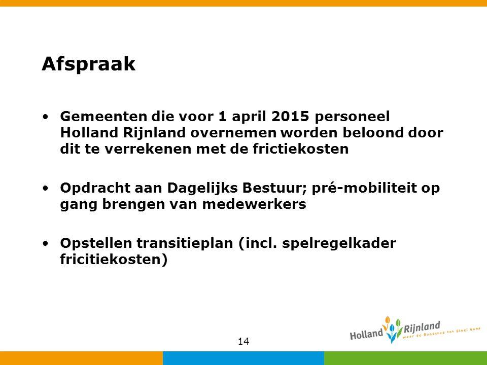Afspraak Gemeenten die voor 1 april 2015 personeel Holland Rijnland overnemen worden beloond door dit te verrekenen met de frictiekosten Opdracht aan