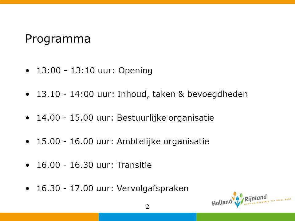 Programma 13:00 - 13:10 uur: Opening 13.10 - 14:00 uur: Inhoud, taken & bevoegdheden 14.00 - 15.00 uur: Bestuurlijke organisatie 15.00 - 16.00 uur: Am