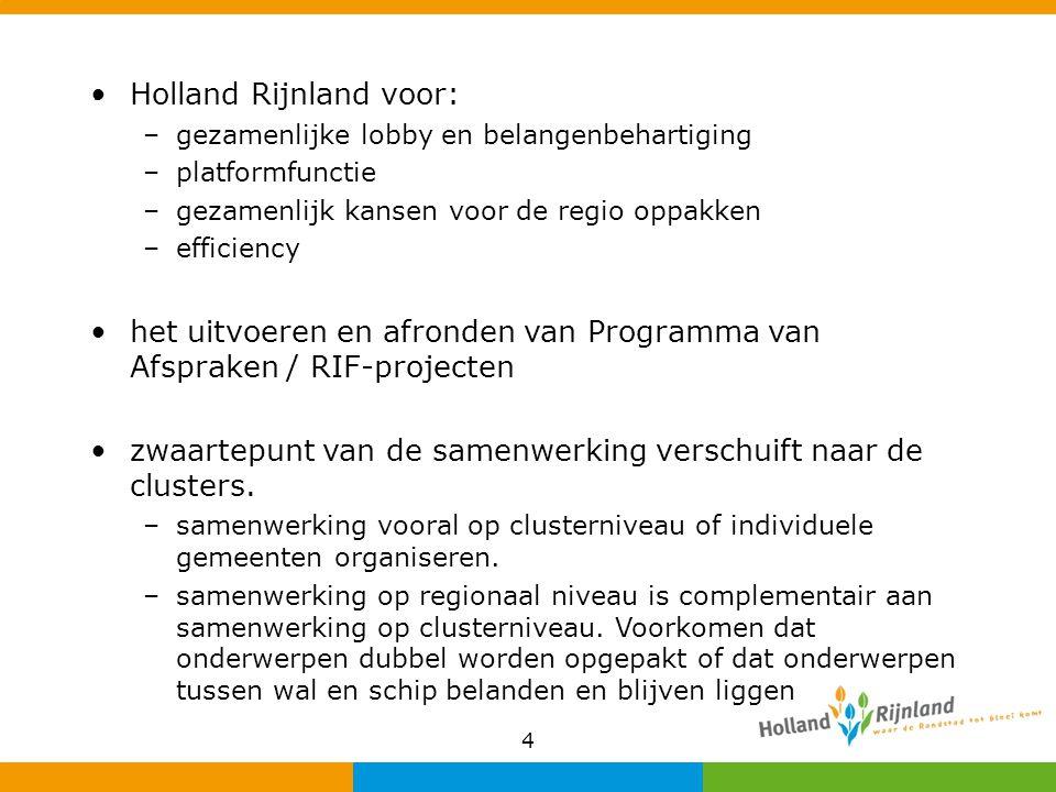 . Holland Rijnland voor: –gezamenlijke lobby en belangenbehartiging –platformfunctie –gezamenlijk kansen voor de regio oppakken –efficiency het uitvoe