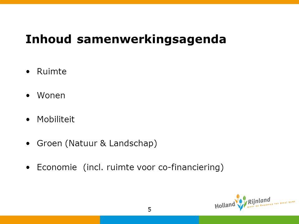 Inhoud samenwerkingsagenda Ruimte Wonen Mobiliteit Groen (Natuur & Landschap) Economie (incl. ruimte voor co-financiering) 5