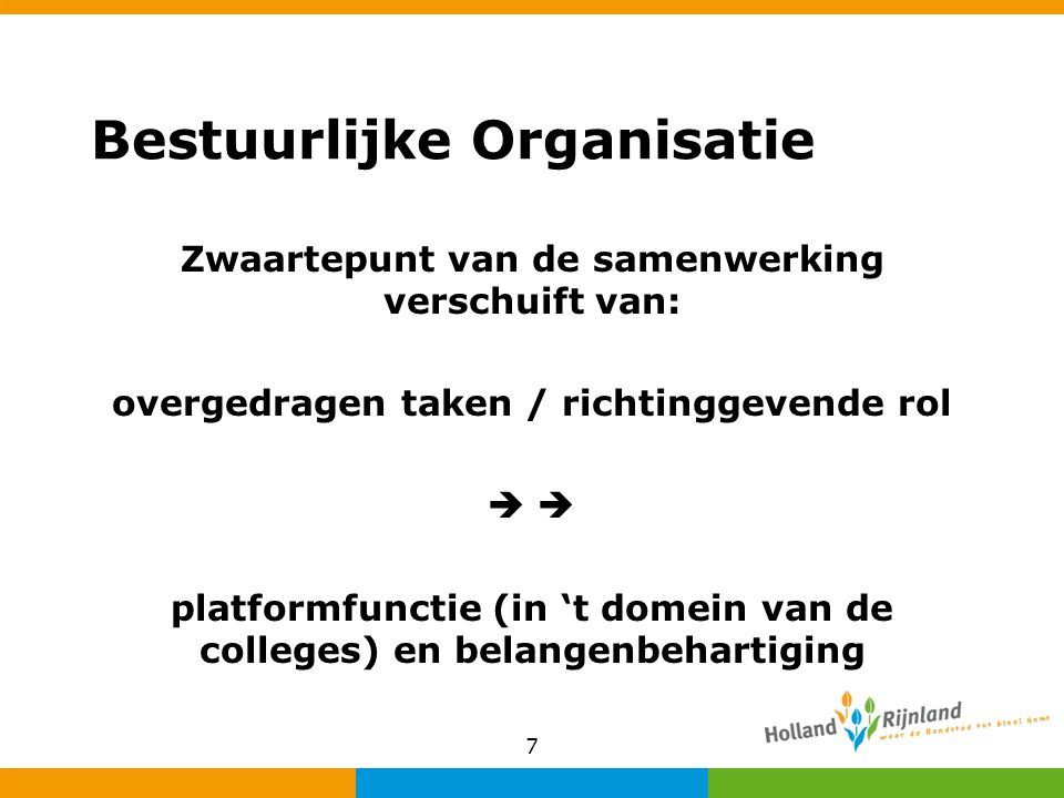 Bestuurlijke Organisatie Zwaartepunt van de samenwerking verschuift van: overgedragen taken / richtinggevende rol  platformfunctie (in 't domein van