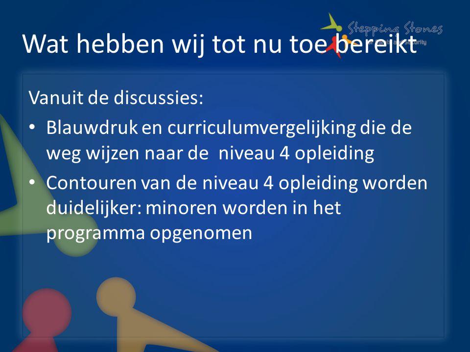 Wat hebben wij tot nu toe bereikt Vanuit de discussies: Blauwdruk en curriculumvergelijking die de weg wijzen naar de niveau 4 opleiding Contouren van de niveau 4 opleiding worden duidelijker: minoren worden in het programma opgenomen