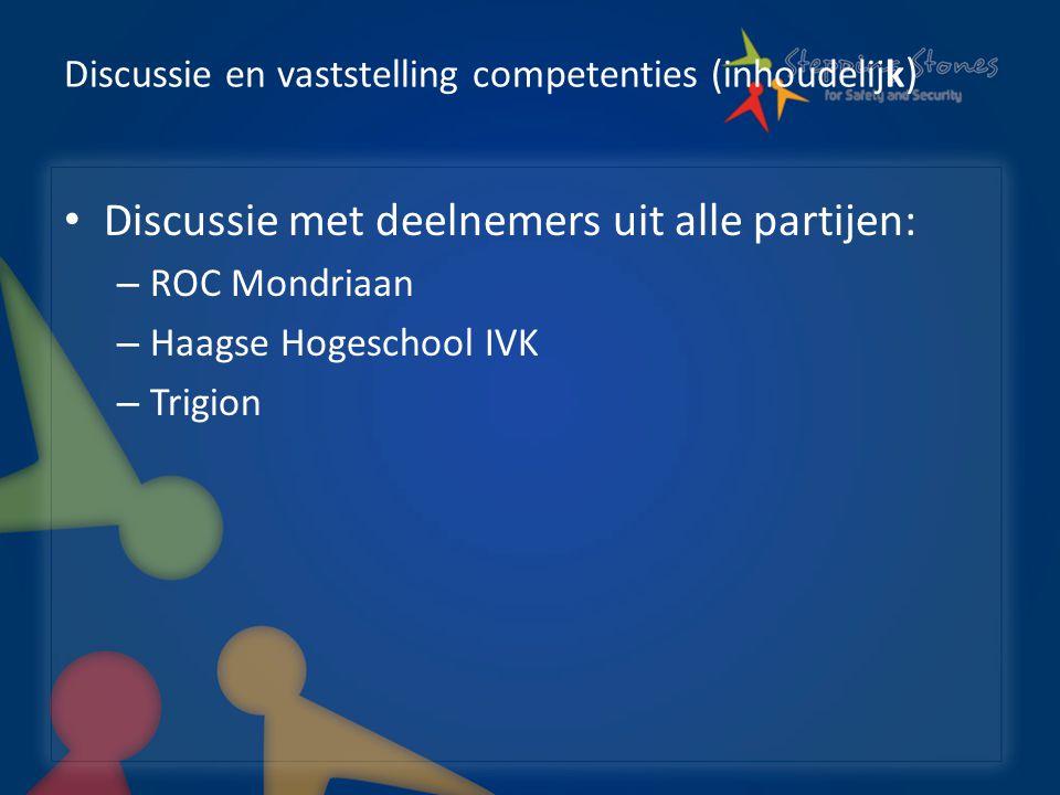 Discussie en vaststelling competenties (inhoudelijk ) Discussie met deelnemers uit alle partijen: – ROC Mondriaan – Haagse Hogeschool IVK – Trigion