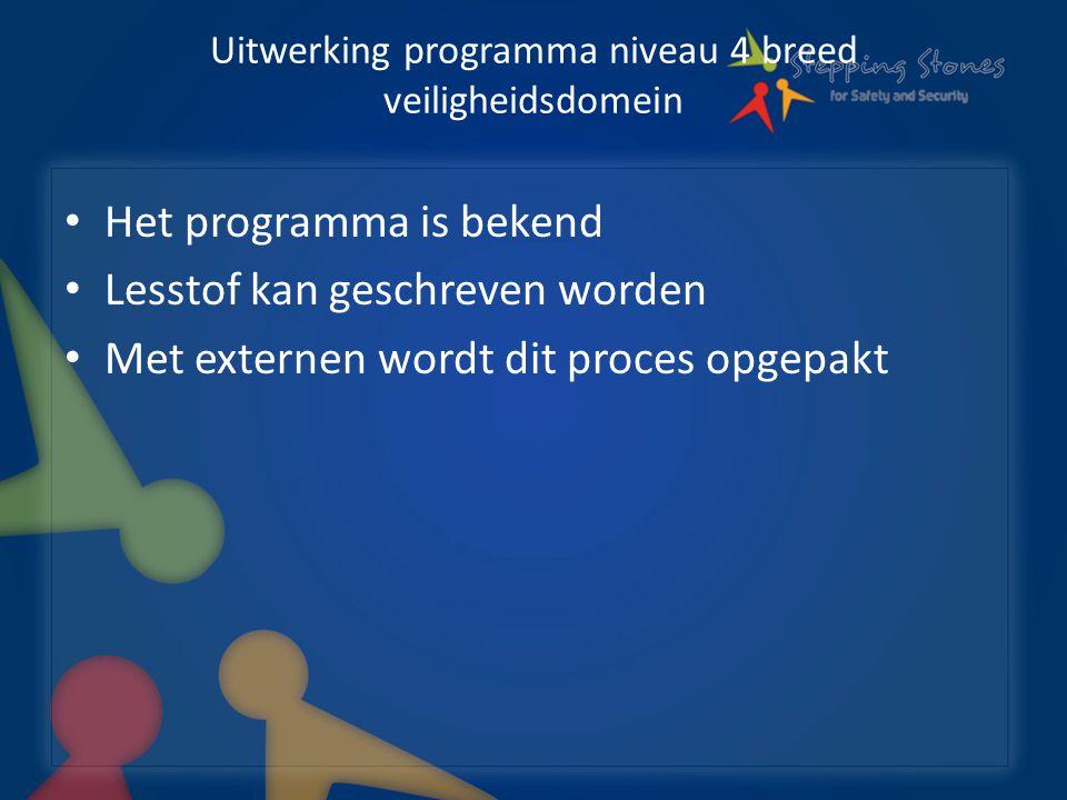 Uitwerking programma niveau 4 breed veiligheidsdomein Het programma is bekend Lesstof kan geschreven worden Met externen wordt dit proces opgepakt