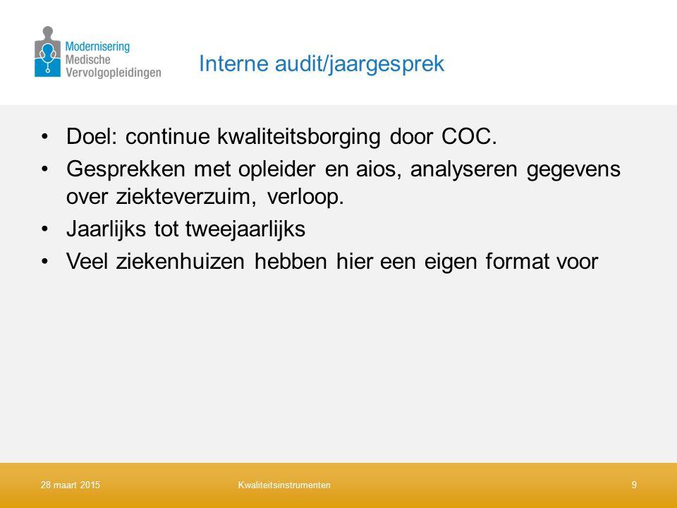 Interne audit/jaargesprek Doel: continue kwaliteitsborging door COC.