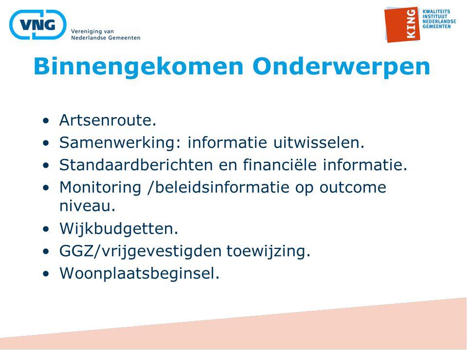 Binnengekomen Onderwerpen Artsenroute. Samenwerking: informatie uitwisselen. Standaardberichten en financiële informatie. Monitoring /beleidsinformati