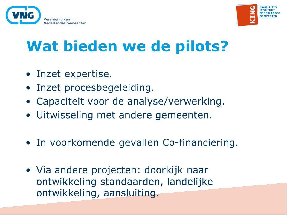 Wat bieden we de pilots? Inzet expertise. Inzet procesbegeleiding. Capaciteit voor de analyse/verwerking. Uitwisseling met andere gemeenten. In voorko