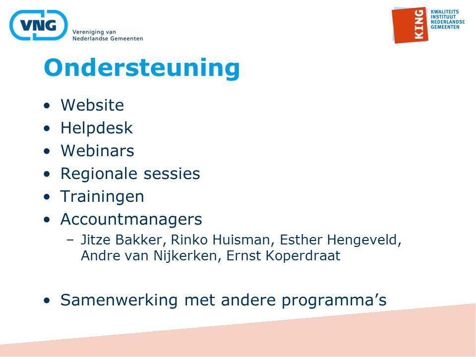 Ondersteuning Website Helpdesk Webinars Regionale sessies Trainingen Accountmanagers –Jitze Bakker, Rinko Huisman, Esther Hengeveld, Andre van Nijkerk