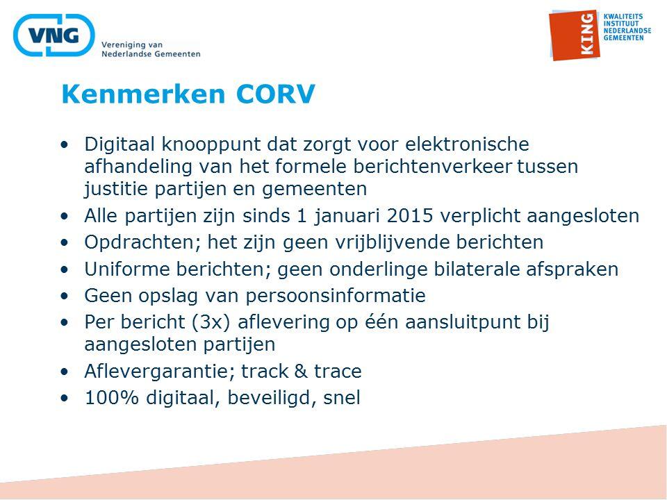 Kenmerken CORV 24 Digitaal knooppunt dat zorgt voor elektronische afhandeling van het formele berichtenverkeer tussen justitie partijen en gemeenten A