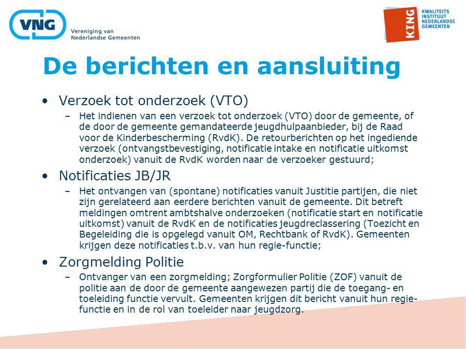 De berichten en aansluiting Verzoek tot onderzoek (VTO) –Het indienen van een verzoek tot onderzoek (VTO) door de gemeente, of de door de gemeente gemandateerde jeugdhulpaanbieder, bij de Raad voor de Kinderbescherming (RvdK).
