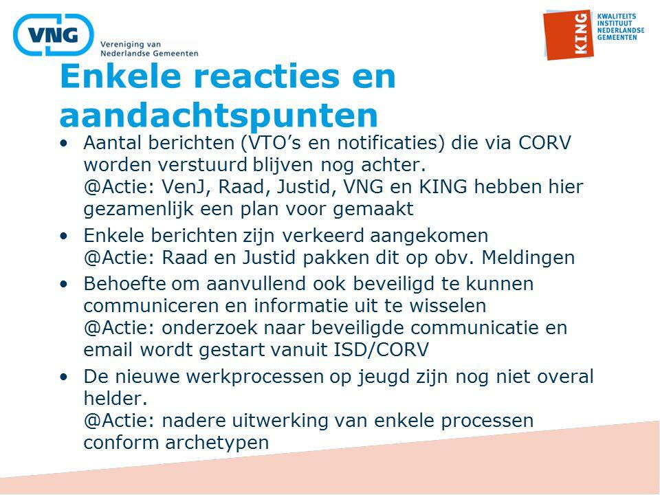 Enkele reacties en aandachtspunten Aantal berichten (VTO's en notificaties) die via CORV worden verstuurd blijven nog achter. @Actie: VenJ, Raad, Just