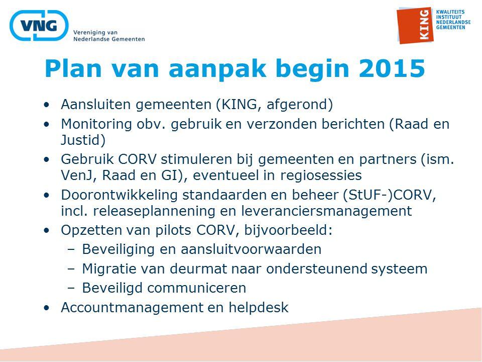 Plan van aanpak begin 2015 Aansluiten gemeenten (KING, afgerond) Monitoring obv. gebruik en verzonden berichten (Raad en Justid) Gebruik CORV stimuler