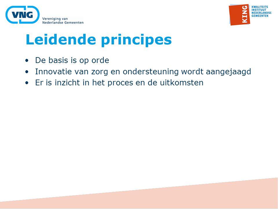 Leidende principes De basis is op orde Innovatie van zorg en ondersteuning wordt aangejaagd Er is inzicht in het proces en de uitkomsten