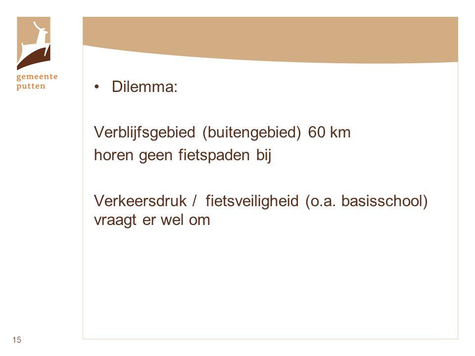 Dilemma: Verblijfsgebied (buitengebied) 60 km horen geen fietspaden bij Verkeersdruk / fietsveiligheid (o.a.