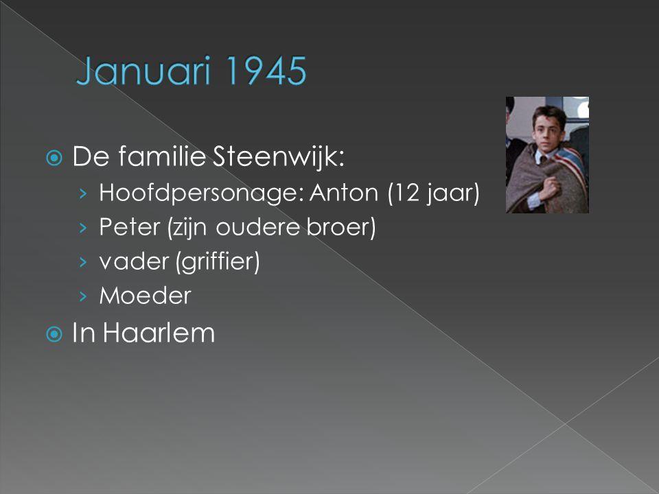  De familie Steenwijk: › Hoofdpersonage: Anton (12 jaar) › Peter (zijn oudere broer) › vader (griffier) › Moeder  In Haarlem