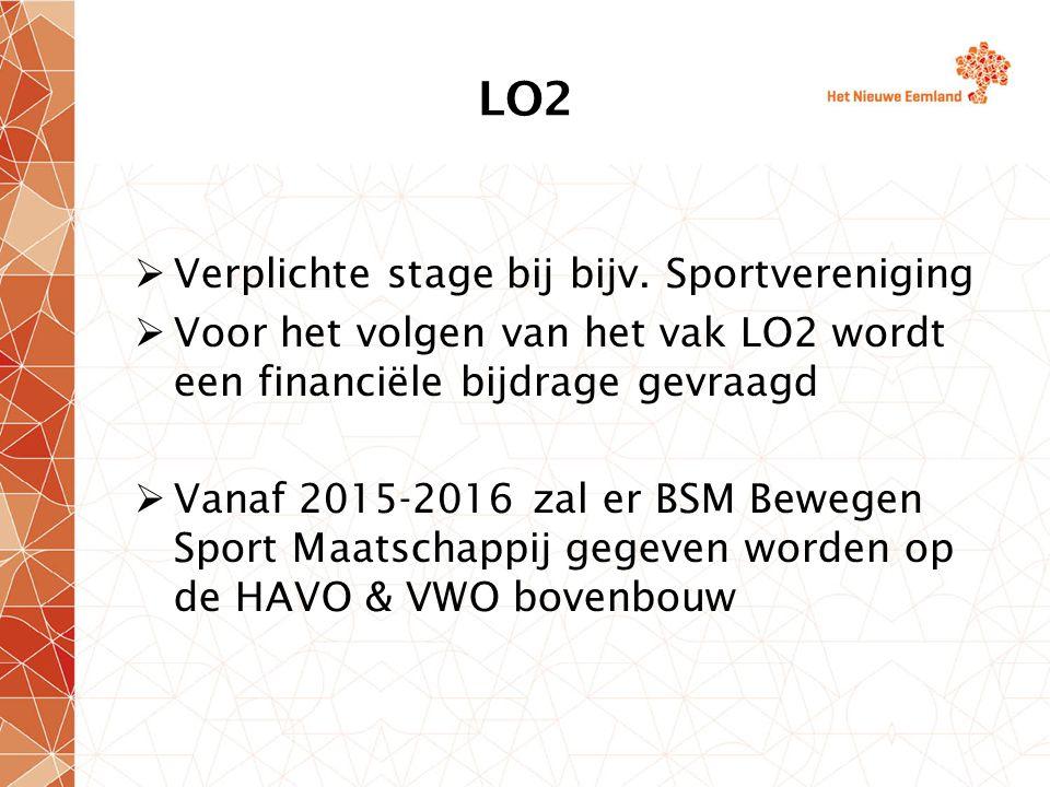 LO2  Verplichte stage bij bijv. Sportvereniging  Voor het volgen van het vak LO2 wordt een financiële bijdrage gevraagd  Vanaf 2015-2016 zal er BSM