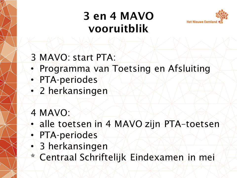 3 en 4 MAVO vooruitblik 3 MAVO: start PTA: Programma van Toetsing en Afsluiting PTA-periodes 2 herkansingen 4 MAVO: alle toetsen in 4 MAVO zijn PTA–to
