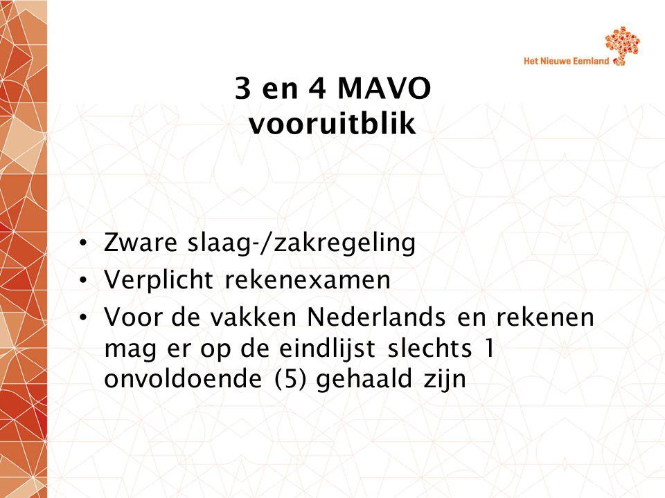 3 en 4 MAVO vooruitblik Zware slaag-/zakregeling Verplicht rekenexamen Voor de vakken Nederlands en rekenen mag er op de eindlijst slechts 1 onvoldoen