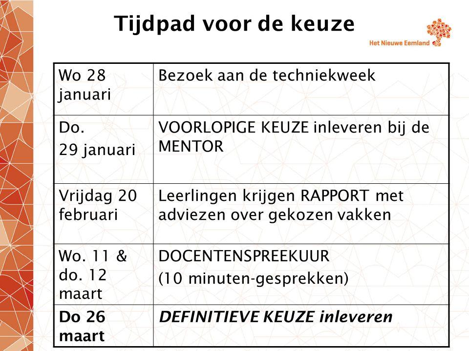 Tijdpad voor de keuze Wo 28 januari Bezoek aan de techniekweek Do. 29 januari VOORLOPIGE KEUZE inleveren bij de MENTOR Vrijdag 20 februari Leerlingen