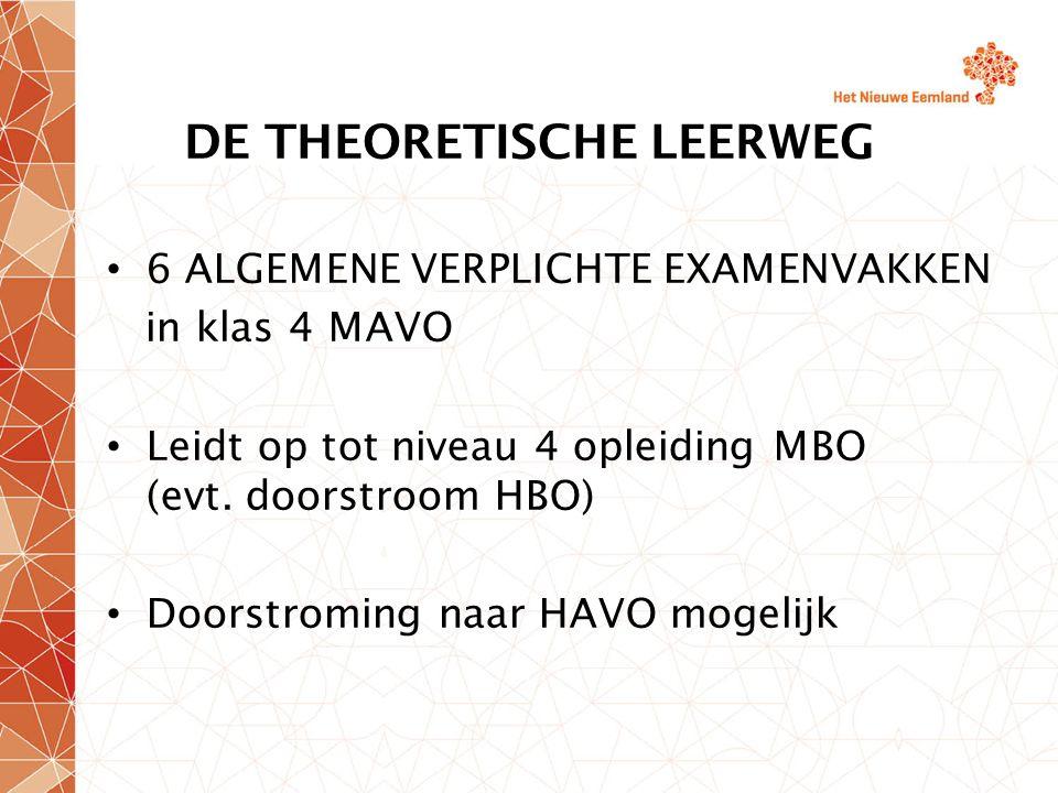 DE THEORETISCHE LEERWEG 6 ALGEMENE VERPLICHTE EXAMENVAKKEN in klas 4 MAVO Leidt op tot niveau 4 opleiding MBO (evt. doorstroom HBO) Doorstroming naar