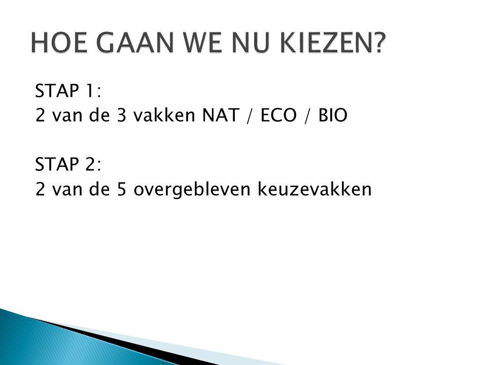 STAP 1: 2 van de 3 vakken NAT / ECO / BIO STAP 2: 2 van de 5 overgebleven keuzevakken