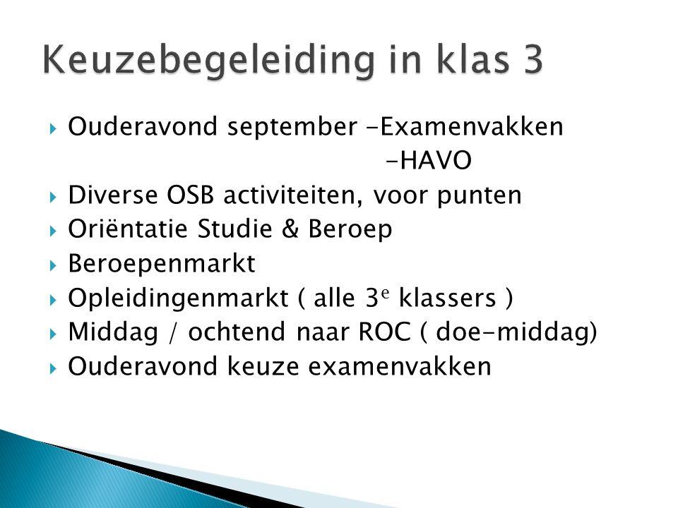  Ouderavond september -Examenvakken -HAVO  Diverse OSB activiteiten, voor punten  Oriëntatie Studie & Beroep  Beroepenmarkt  Opleidingenmarkt ( alle 3 e klassers )  Middag / ochtend naar ROC ( doe-middag)  Ouderavond keuze examenvakken