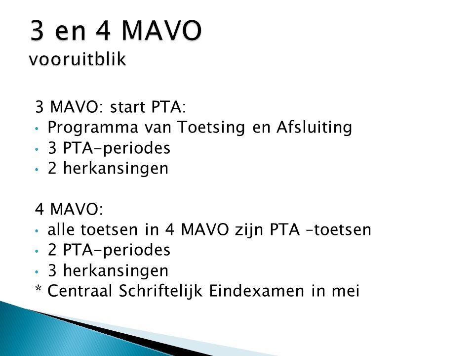 3 MAVO: start PTA: Programma van Toetsing en Afsluiting 3 PTA-periodes 2 herkansingen 4 MAVO: alle toetsen in 4 MAVO zijn PTA –toetsen 2 PTA-periodes 3 herkansingen *Centraal Schriftelijk Eindexamen in mei