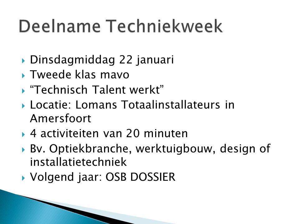  Dinsdagmiddag 22 januari  Tweede klas mavo  Technisch Talent werkt  Locatie: Lomans Totaalinstallateurs in Amersfoort  4 activiteiten van 20 minuten  Bv.