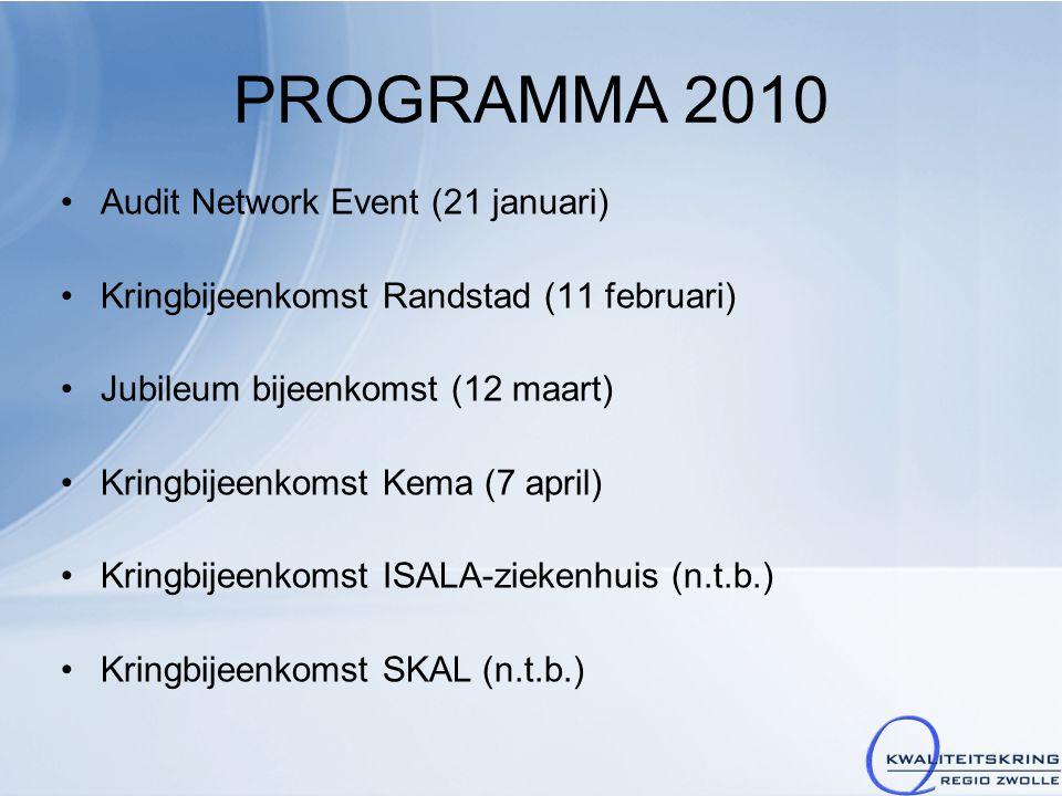 PROGRAMMA 2010 Audit Network Event (21 januari) Kringbijeenkomst Randstad (11 februari) Jubileum bijeenkomst (12 maart) Kringbijeenkomst Kema (7 april) Kringbijeenkomst ISALA-ziekenhuis (n.t.b.) Kringbijeenkomst SKAL (n.t.b.)