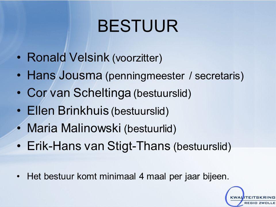 BESTUUR Ronald Velsink (voorzitter) Hans Jousma (penningmeester / secretaris) Cor van Scheltinga (bestuurslid) Ellen Brinkhuis (bestuurslid) Maria Malinowski (bestuurlid) Erik-Hans van Stigt-Thans (bestuurslid) Het bestuur komt minimaal 4 maal per jaar bijeen.