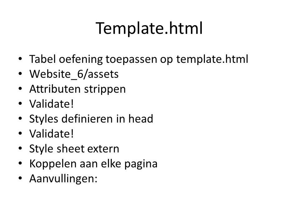 Template.html Tabel oefening toepassen op template.html Website_6/assets Attributen strippen Validate.