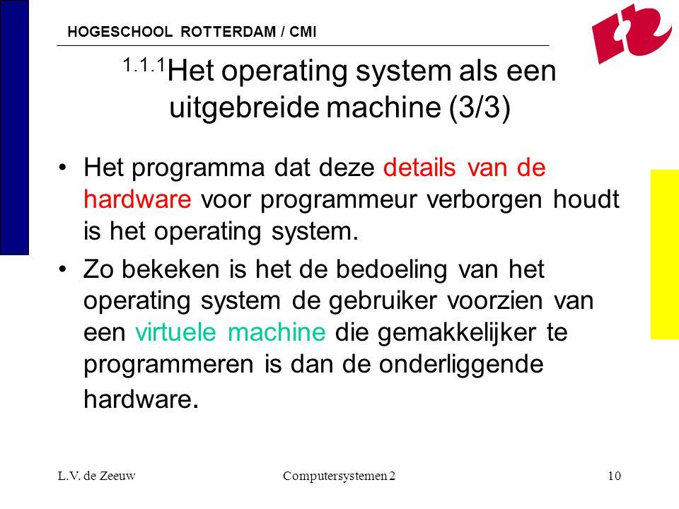 HOGESCHOOL ROTTERDAM / CMI L.V. de ZeeuwComputersystemen 210 1.1.1 Het operating system als een uitgebreide machine (3/3) Het programma dat deze detai